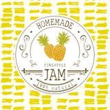 果酱标签设计模板 对菠萝点心产品用手拉的速写的果子和背景 乱画传染媒介菠萝il 图库摄影
