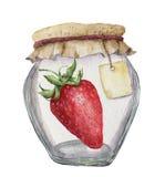 果酱的水彩玻璃瓶子与题字和草莓的标签 背景钝齿轮例证查出的白色 对设计, 库存图片