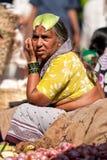果阿,印度- 2008年2月-卖新鲜蔬菜的妇女在著名每周马普萨市场上 免版税库存照片
