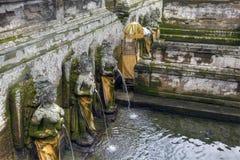 果阿Gajah寺庙的,巴厘岛,印度尼西亚池塘 图库摄影