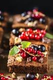果仁巧克力巧克力蛋糕用新鲜的莓果、无核小葡萄干和薄菏 库存图片
