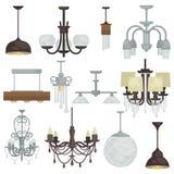 枝形吊灯各种各样的类型集合 另外垂悬的灯收藏f 免版税库存图片