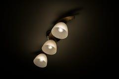 枝形吊灯天花板;黑暗的背景 免版税库存图片