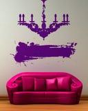 枝形吊灯长沙发假的粉红色 库存例证
