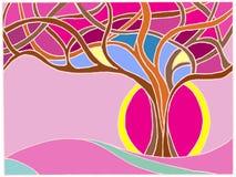 枝杈彩色玻璃乱画图画不可思议的树  免版税库存照片