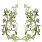 枝杈的手拉的例证有巴洛克式的花和的叶子的 免版税图库摄影