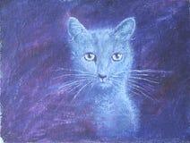 枪口小猫,画象,油画 免版税库存照片