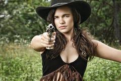 枪射击-警长小姐 免版税库存图片