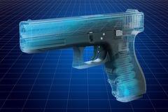 枪形象化3d cad模型,兵工学概念 皇族释放例证