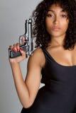 枪性感的妇女 免版税图库摄影