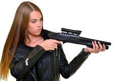 枪性感的妇女 免版税库存照片