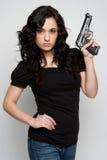 枪性感的妇女 库存照片