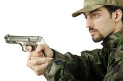 枪查出的战士 免版税库存图片