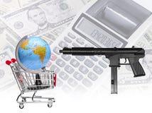 枪的桶威胁世界市场 库存照片