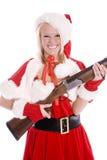 枪辅助工圣诞老人微笑 免版税图库摄影