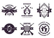 枪,与步枪,左轮手枪,手枪的葡萄酒商标 皇族释放例证