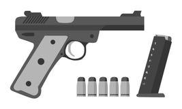 枪,子弹,在平的样式的夹子 军事,警察,军队equipme 库存照片