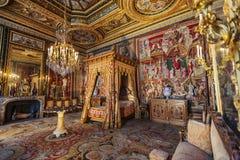 枫丹白露宫卧室,法国 免版税库存图片