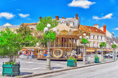 枫丹白露,法国- 2016年7月09日:巴黎-城市的郊区 免版税图库摄影