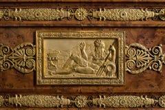 枫丹白露,法国- 2015年8月15日:细节、雕象和家具 库存图片