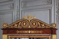 枫丹白露,法国- 2015年8月15日:细节、雕象和家具 免版税库存照片