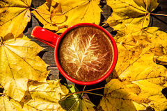 枫叶拿铁与叶子的咖啡艺术 库存照片
