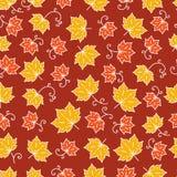 枫叶样式与枫叶的线艺术背景 免版税库存照片