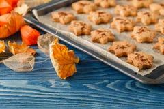 以枫叶,橡木leav的形式可口自创曲奇饼 免版税库存照片