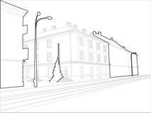 架线的大厦壁角草图 免版税库存照片