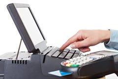 架装安装LCD触摸屏幕显示器和POS终端 免版税库存图片