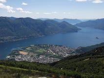 洛枷诺,提契诺州,瑞士山坡视图  免版税图库摄影