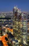 柏悦东京大厦夜间全景从的 免版税库存图片