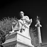 柏拉图古希腊哲学家和雅典娜雕象 免版税库存照片