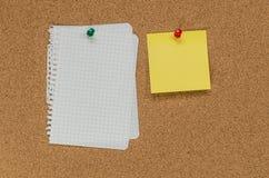 黄柏板和便条纸 免版税库存图片