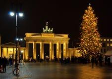 柏林勃兰登堡门圣诞节 库存图片