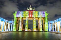 柏林勃兰登堡门在日落的Brandenburger突岩 免版税库存图片