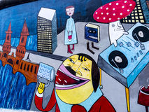 柏林围墙的曼哈顿东区的画廊在柏林德国 库存图片