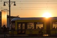 柏林地平线和电视塔在日落 图库摄影