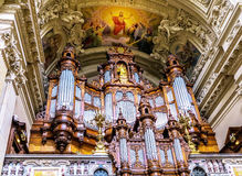 柏林大教堂内部器官,德国 图库摄影