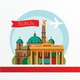 柏林德国传染媒介剪影  背景城市设计您地平线的向量 免版税库存图片