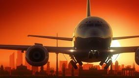 柏林德国飞机离开地平线金黄背景 影视素材