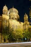 柏林新的晚上犹太教堂 免版税库存照片