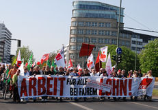 柏林日演示可以 免版税图库摄影