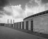 柏林的奥林匹亚体育场外视图,建立为1936个夏季奥运会 在柏林,德国 免版税图库摄影