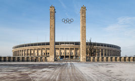 柏林的奥林匹亚体育场外视图,建立为1936个夏季奥运会 在柏林,德国 库存照片