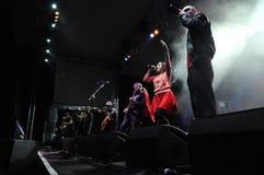 从柏林的Rotfront带执行一个生活音乐会 库存图片