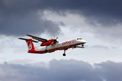 柏林航空Bombardier De Havilland DHC-8 Q400 库存照片
