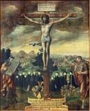 柏林,德国, 2017年2月- 16日:在十字架上钉死paintig与摩西和圣约翰的浸礼会教友在教会Marienkirche里 免版税库存图片