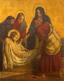 柏林,德国, 2017年2月- 16日:在金属片的油漆耶稣埋葬在教会圣马修里 库存图片