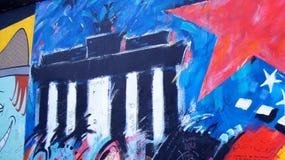 柏林,德国- 2015年1月17日, :一部分的柏林围墙的著名东边画廊 库存图片